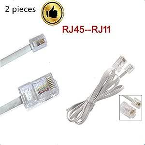 9 m 30 Patas para tel/éfono Fijo N//A RJ11 6P2C Cable y Cable telef/ónico Modular Blanco