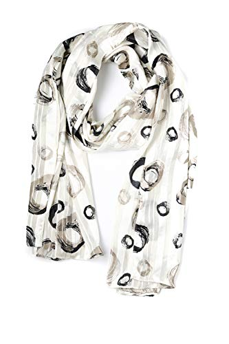 momomio Womens Sheer Chiffon Scarf Soft Vintage Fashion Scarves For Women 27 by 68 Inch (Watercolor Pebbles) (Collection Silk Chiffon Dress In Watercolor Floral)