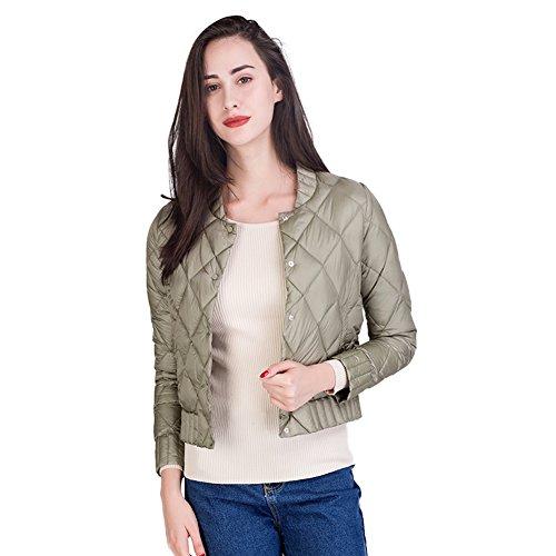 Green Leggero Women Disponibili Jacket Cappotto Corto Slim Pattern Pea Down Colori 5 Romboidali Button Santimon Outwear Z1wFqvv