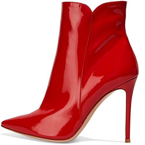 Stivaletti Con Alto Elashe Blocco Elegante Classiche Tacco Tacco Rosso 100mm Donna Inverno FEpcpqTd