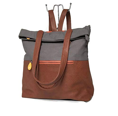 carry on travel backpack & convertible laptop bag by CANOPY VERDE, in slate gray/maple vegan leather, available in multiple colors