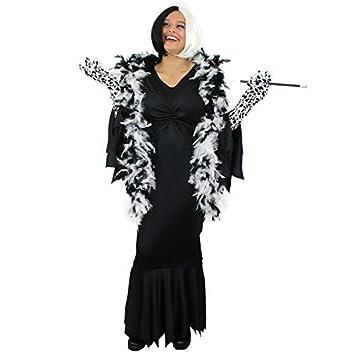 ILOVEFANCYDRESS Disfraz de Cruella de Vil para mujer (vestido largo negro, peluca, guantes