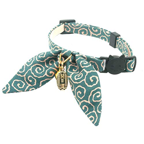 PetSoKoo Unique Bunny Ears Bowtie Cat Collar, Japan Traditional Lucky Pendant and Gold Bell. Safety Breakaway, Light Weight, Soft, Durable. Quick Release and Easy Adjustable (Standard, Dark Cyan) ()