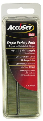 AccuSet A809909 Variety Pack 1/4-Inch Crown 18 Gauge Galvanized Staples