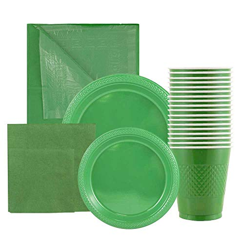 JAM Paper Party Supply Assortment - Green - Plates (2 Sizes), Napkins (2 Sizes), Cups (1 Pack) & Tablecloth (1 Pack) - 6 Items/Set