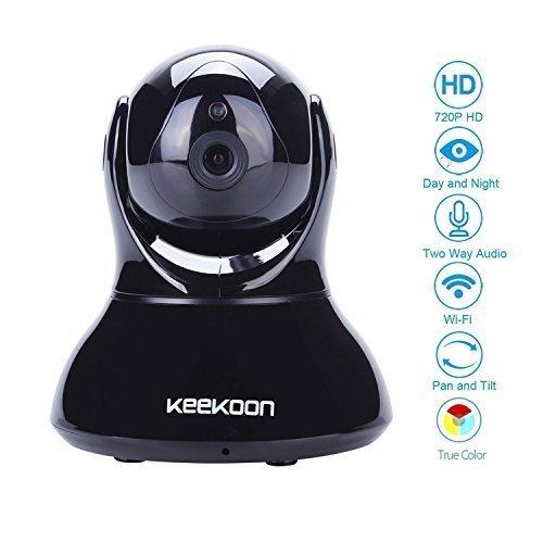 keekoon Wireless/Wired Tag/Nacht IP Kamera Wlan mit EU-Stecker, AGPtek® ip cam Megapixel HD Überwachungskamera mit TF SD Karteschlitz Netzwerksaufzeichnung für PC / Mac (Safari nur) / iphone / Android/ Tablet - 5x digital zoom1280 x 720p, bis zu 32GB Speicherraum, Zwei-Wege-Audio, Nachtsicht, steuerbar Pan/Tilt (Pan: 345°, Tilt: 90°) Zugriff über das Internet/ Wlan/ 3G/4G, einwandfreie Fernsteuerung zur Überwachnung auf Handys