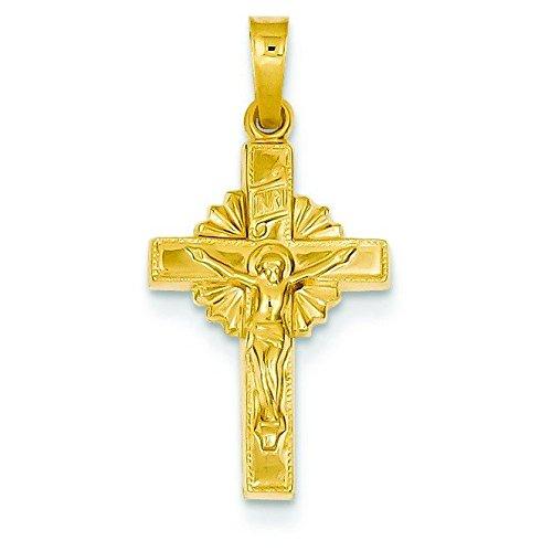 Pendentif creux Crucifix INRI 14 carats-Dimensions :  19 x 13 mm-JewelryWeb