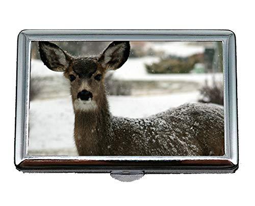 Pocket Case/Cigarette Case,Deer,doe,White Tail,Snow Credit Card ID Case/Holder/Cards Case