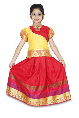 - kaatru Girls Pavadai Set D4 - Lehenga Choli - Buffon Sleeve Red (9-10 Y)