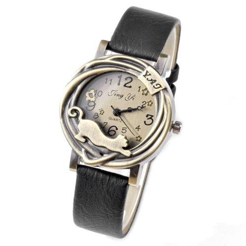 Top Plaza Fashion Women's Vintage Retro Analog Quartz Watch, Bronze Case with Cat - Black