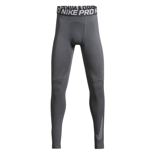 NIKE Boys Pro Training Tights (Carbon Heather/White, Large) by Nike