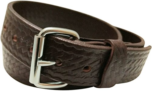 DTOM Buffalo Tough Concealed Carry CCW Leather Gun Belt - 14 Ounce 1 1/2 inch Premium Full Grain Buffalo Leather Belt - Handmade (Mahogany Weave, 44-for 40
