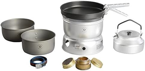 Trangia – 25-0 Ultralight Hard Anodized Camping Cookset Includes Alcohol Stove, 2 HA Pots, Non-Stick Frypan, Kettle, Upper Lower Windshield, Pot Gripper, Strap