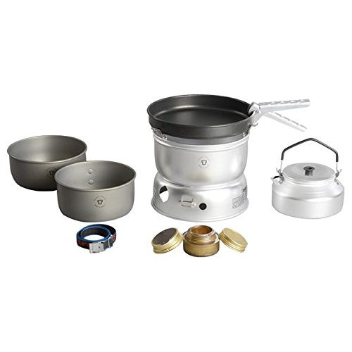 Trangia - 25-0 Ultralight Hard Anodized Camping Cookset | Includes: Alcohol Stove, 2 HA Pots, Non-Stick Frypan, Kettle, Upper & Lower Windshield, Pot Gripper, & Strap