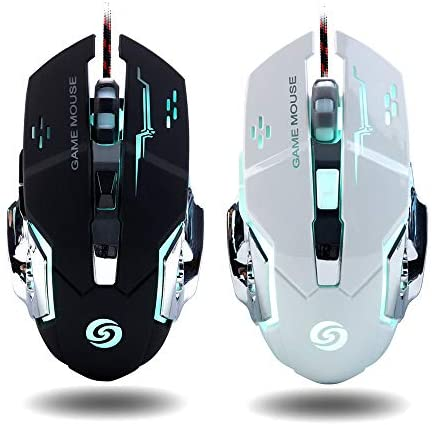 [2Pcs] Gaming Mouse Wired [Breathing Light] Ergonomic Game USB Computer Mice RGB Gamer Desktop Laptop PC Gaming Mouse,6 Buttons for Windows XP, Vista, Win7/8,10, Mac OS System