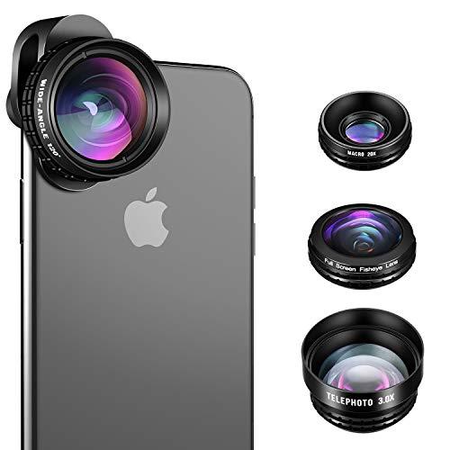 (iPhone Camera Lens, SLR Level 4 in 1 HD iPhone Lens Kit, 3.0X Zoom Telephoto Lens, 20X Macro Lens, 120°Wide Angle Lens, 238°Fisheye Lens for iPhone X/8/7/7 Plus/6s/6s Plus/6/5 & Samsung & Smartphones)