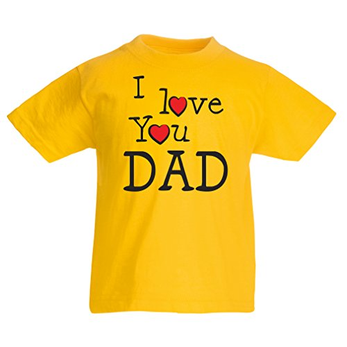 lepni.me T Shirts For Kids I Love You Dad Kids Fathers Day Outfit, Gift From Son, Gift From Daughter - Best Dad Ever (7-8 Years Yellow Multi (Lladro First Flowers)