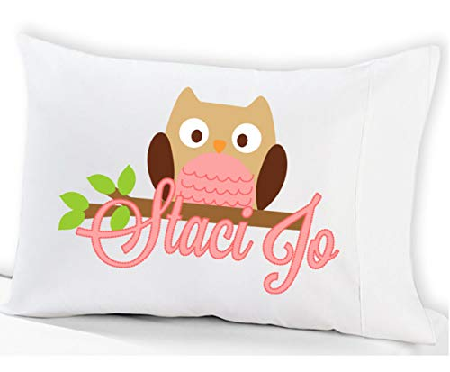 Personalized Owl Pillowcase for Kids (Standard Size 20 x 26, Pink Owl) Pink Pillow Case for Girls Birthday