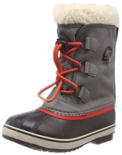 (Sorel Girls' Yoot Pac Nylon Snow Boot, Quarry, sail red, 6 M US Big Kid)