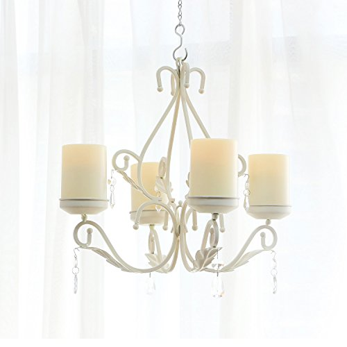 GiveU 3 in 1 Lighting Chandelier, Metal Wall Sconce Hung Table Centerpiece for Indoor or Outdoor Patio, Chain and Candles Included,White,