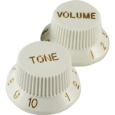 Fender Stratocaster Replacement Knobs, White (1 Volume, 2 Tone) by Fender