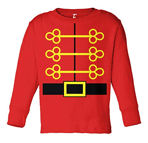 Nutcracker Costume - Holiday Season Long Sleeve Toddler Cotton Jersey Shirt (Red, 2T)