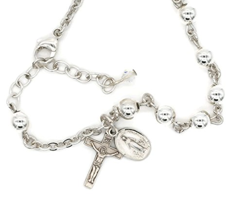 Bertof BT-650 Rosary Bracelet 6mm Round High Polish Charms Sterling Silver Crucifix & Miraculous Medal SILBRAC W Copyrighted Paul Herbert Blessing