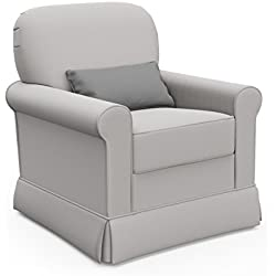 Storkcraft Avalon Upholstered Swivel Glider, London Fog, Cleanable Upholstered Comfort Rocking Nursery Swivel Chair
