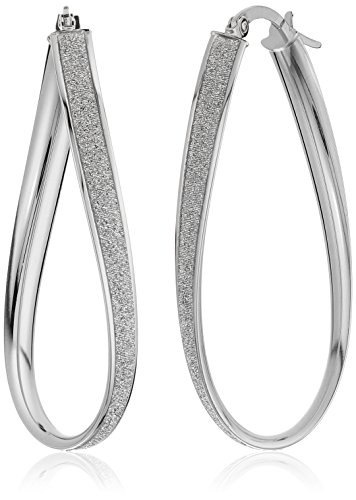 14k White Gold Italian Twisted Elongated Hoop Earrings with Pave Style Glitter Hoop Earrings by Amazon Collection