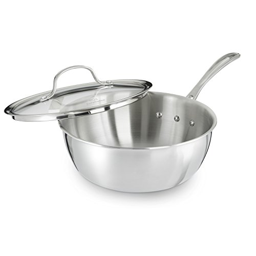 Calphalon Tri-Ply Stainless Steel 3-Quart Chef's Pan with Cover (Chefs Stainless Steel Sauce Pan)