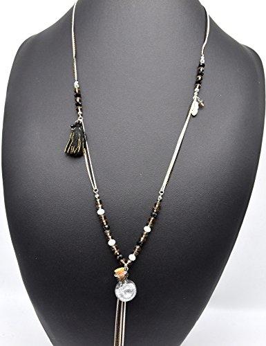CL1134E - Sautoir Collier Multi-Chaînes Perles avec Plume Ethnique, Pompon et Bouteille Verre Paillettes Gris - Mode Fantaisie