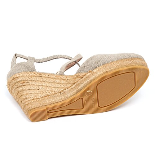 D2810 zeppa donna tissue TRUSSARDI JEANS sandalo shoe woman Beige