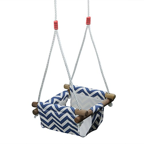 Pellor Baby Toddler Canvas Swing Seat Hammock Chair Indoor Small Swing Hanging Cradle Trapeze (Blue/White)