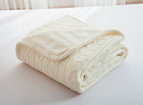 Knit Throw Blanket, Fashion Handmade Twist Crocheted Sleeping Cover Blanket with Sherpa Lining (Ivory, 47'' 71'')