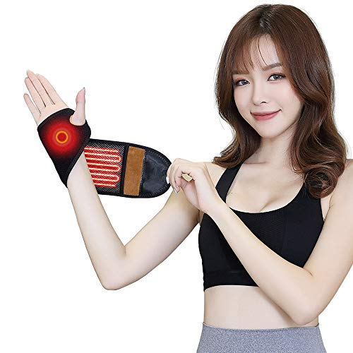 (Quick Win USB Heated Wrist Brace Heating Wrist Wrap Therapy for Wrist Pain Injury,Carpal Tunnel,Arthritis,Tendonitis,Joint Pain,Brace and Support(Black))