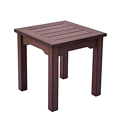 Shine Company 7107CB Square End Side Table, Chateau Brown - Composed of recyclable, High-Density resin designed for home or commercial use Durable construction with wood-grain textures resembling real wood Usable in all weather conditions, with a UV-protected, scratch resistant surface that will not peel, chip, warp, or splinter - patio-tables, patio-furniture, patio - 41EPcQbyn0L. SS400  -