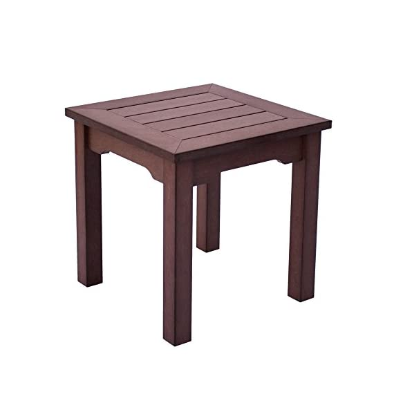 Shine Company 7107CB Square End Side Table, Chateau Brown - Composed of recyclable, High-Density resin designed for home or commercial use Durable construction with wood-grain textures resembling real wood Usable in all weather conditions, with a UV-protected, scratch resistant surface that will not peel, chip, warp, or splinter - patio-tables, patio-furniture, patio - 41EPcQbyn0L. SS570  -