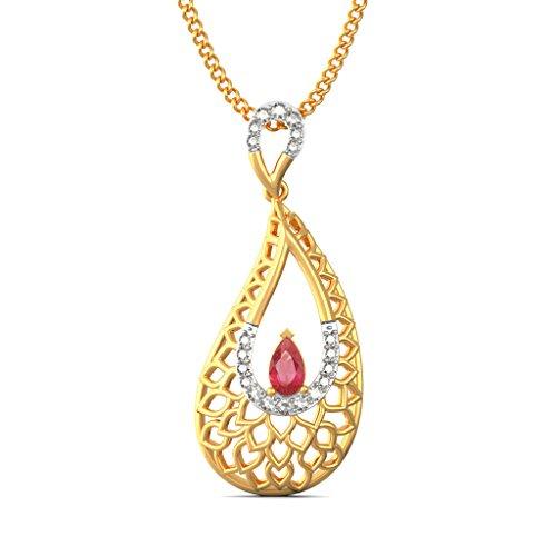 14K Or jaune 0,13CT TW Round-cut-diamond (IJ | SI) et rubis Pendentif