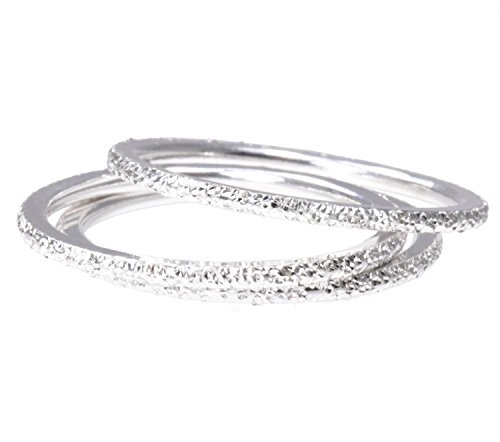 (3 Sterling Silver Stardust Stacking Companion 1.2mm Rings Size 7)