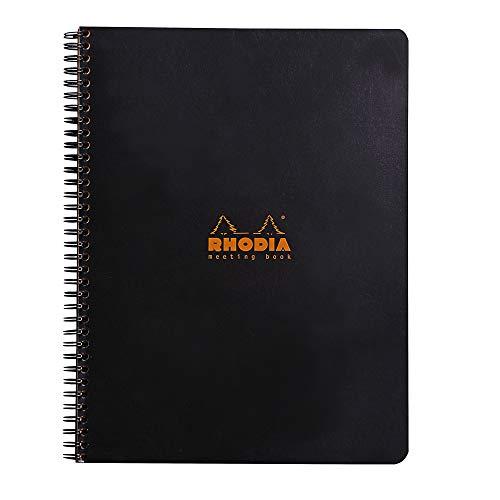 Rhodia 193409C Cuaderno espiral clásico, 160 páginas, negro, 22.5 x 29.7 cm