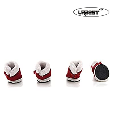 URBEST®Detachable Closure Puppy Dog Shoes Booties Boots Brown 2 Pairs