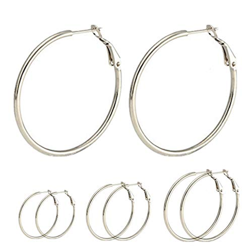 Stainless Surgical Earrings Steel (Calors Vitton 4 Pairs Surgical Stainless Steel Big Hoop Earrings 30-60MM Silver 2)