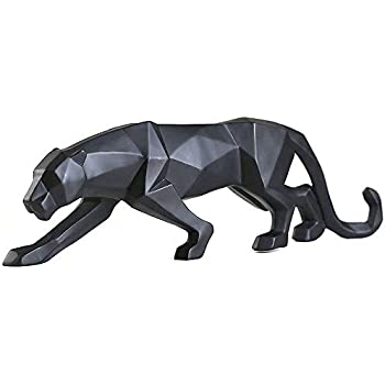 FJWYSANGU Abstract Leopard Statues Panther Sculpture Hand Craved Animal Resin Modern Home Decoration Big Black
