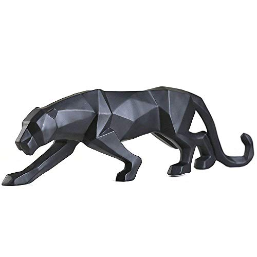 FJWYSANGU Abstract Leopard Statues Panther Sculpture Hand Craved Animal Resin Modern Home Decoration Big Black (Statues Leopard)