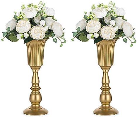 2 Piezas Florero de Trompeta Metal Flores Elegante para Centros de Mesa de Boda para Decoración de Banquetes de Boda, Arreglos de Flores Artificiales 31.9cm Altura para la Ceremonia Aniversario: Amazon.es: Hogar