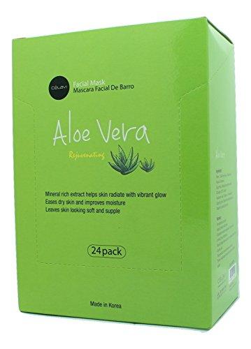 Celavi Essence Facial Mask Paper Sheet Korea Skin Care Moisturizing 24 Pack (Aloe ()