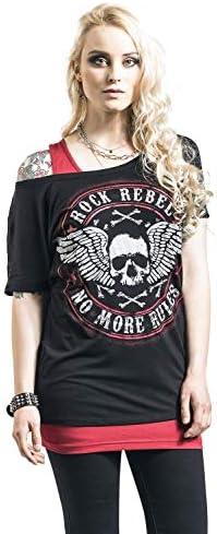 Rock Rebel by EMP T-Shirt z nadrukiem Skullprint Kobiety T-Shirt czarny: Odzież