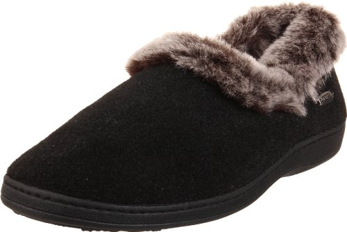 Acorn Women's Faux Chinchilla Collar Slipper,Black,Large/8-9 B(M) US