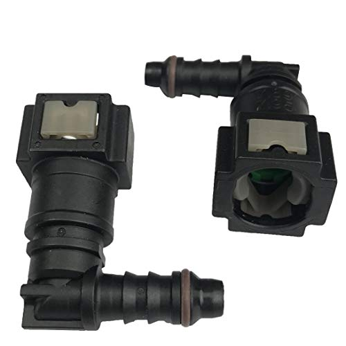Fuel Line Connector Bundy Female to Hose Barb Quick-Disconnect for 3/8 Steel to 5/16 ID 3/8 OD Nylon Tubing 90 Degree, Pack of 2