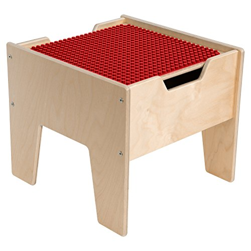 Contender C991300-PR 2-N-1 Activity Table with Duplo Compatible Top, RTA, Wood, Red/Natural